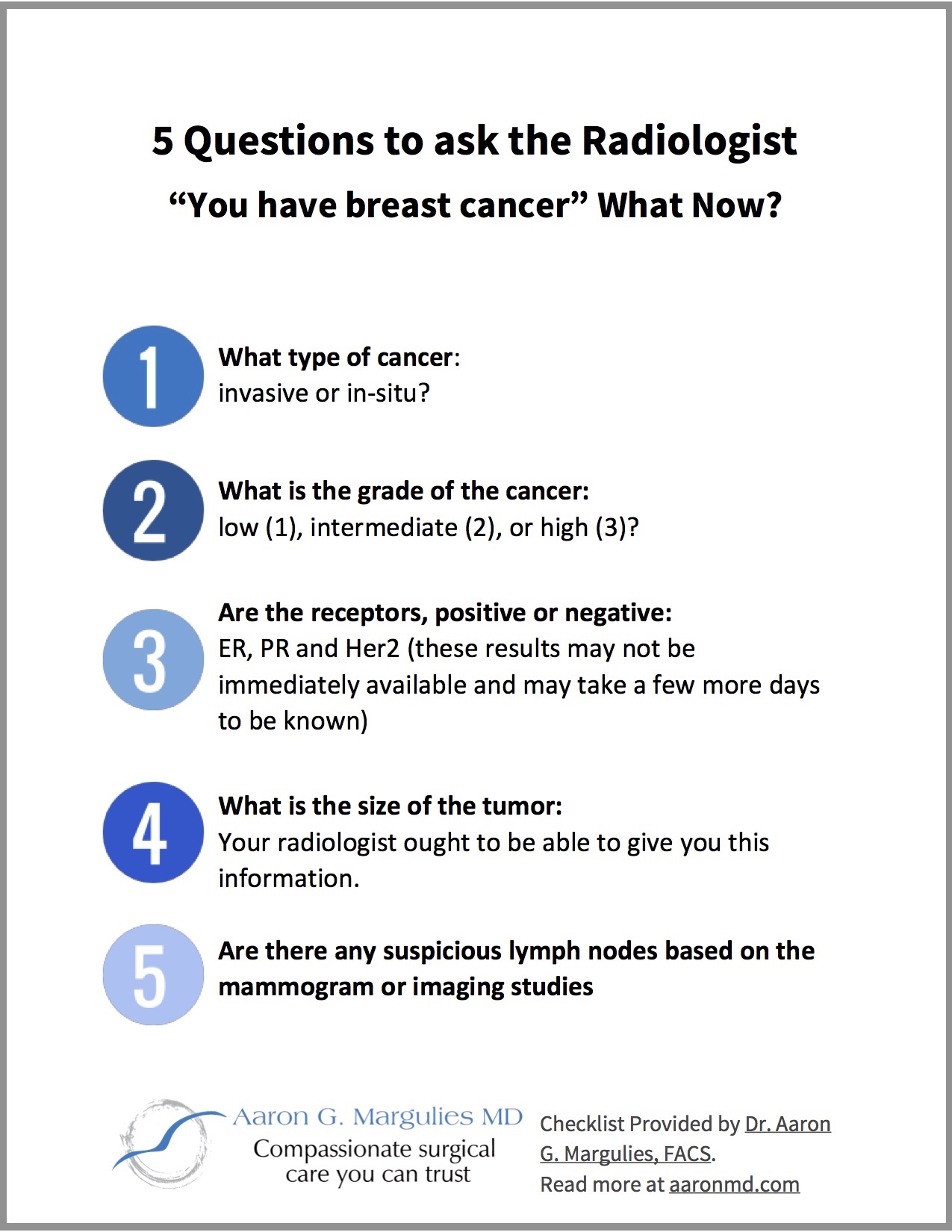 Dr Aaron Margulies You Have Cancer What now Checklist